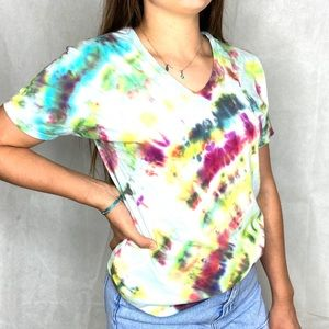 Upcycled Hand Tie Died Rainbow Tshirt Size M
